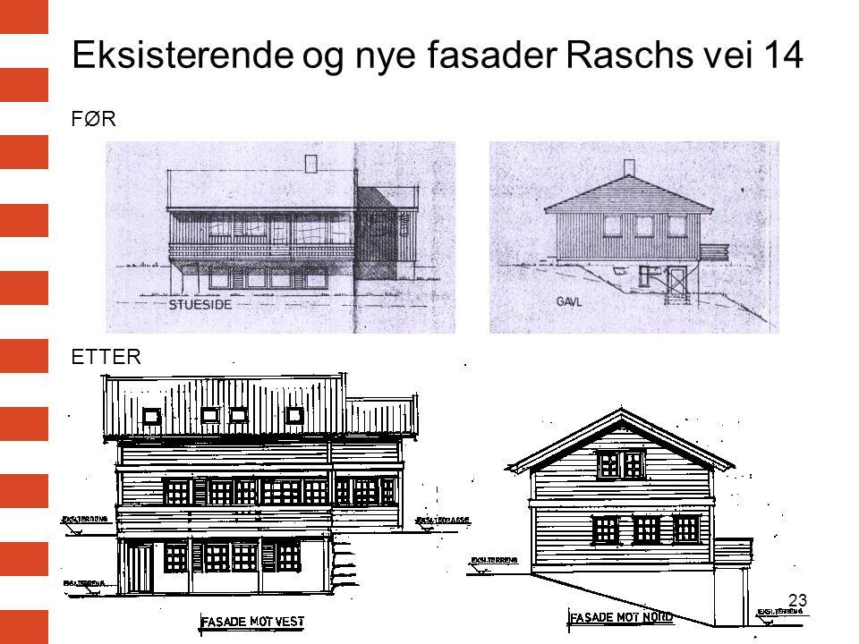 Eksisterende og nye fasader Raschs vei 14