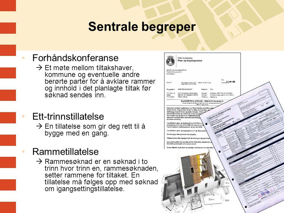 Sentrale begreper Forhåndskonferanse Ett-trinnstillatelse