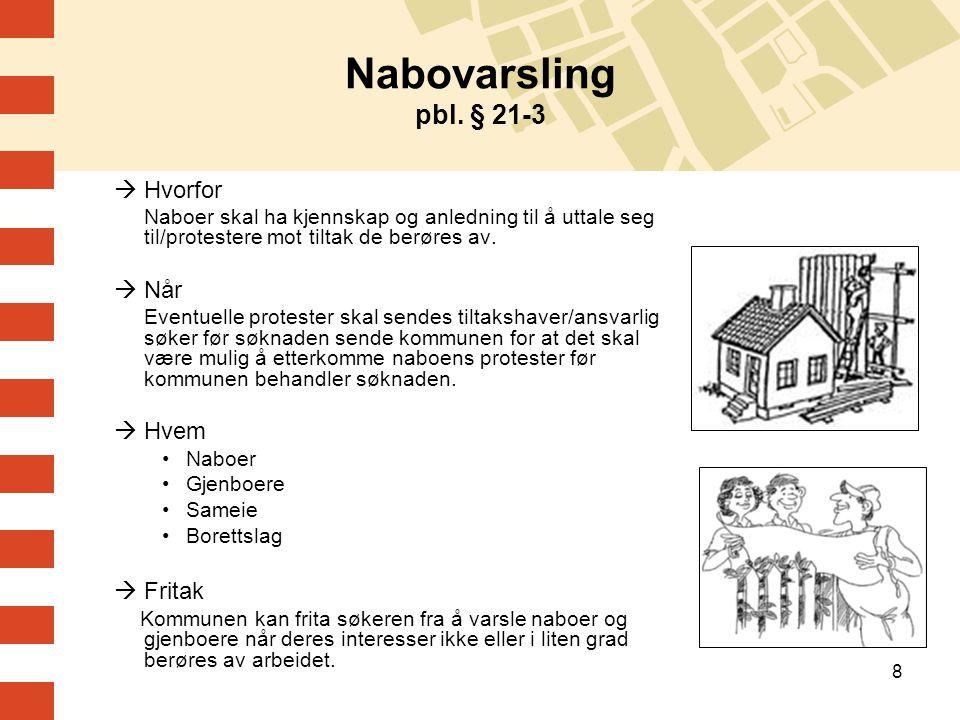 Nabovarsling pbl. § 21-3 Hvorfor Når Hvem Fritak