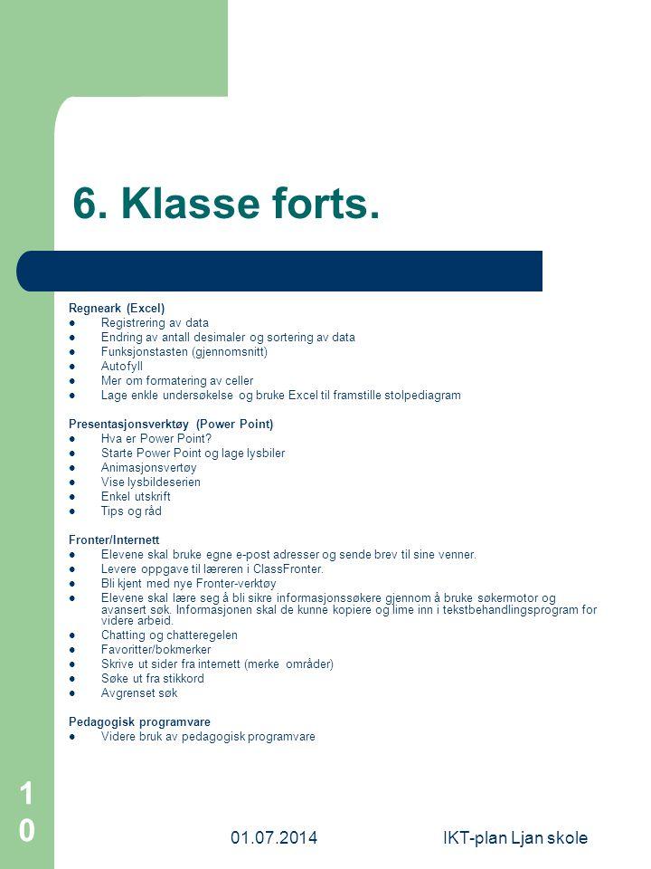 6. Klasse forts. 03.04.2017 IKT-plan Ljan skole Regneark (Excel)