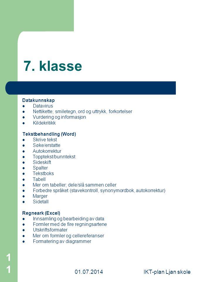 7. klasse 03.04.2017 IKT-plan Ljan skole Datakunnskap Datavirus