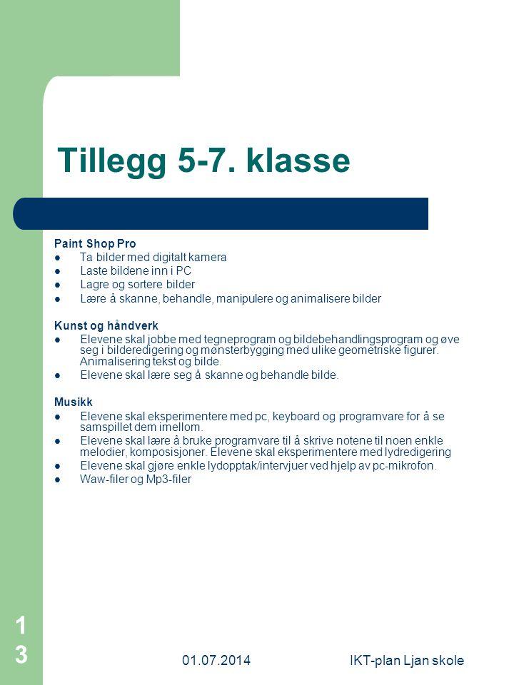 Tillegg 5-7. klasse 03.04.2017 IKT-plan Ljan skole Paint Shop Pro