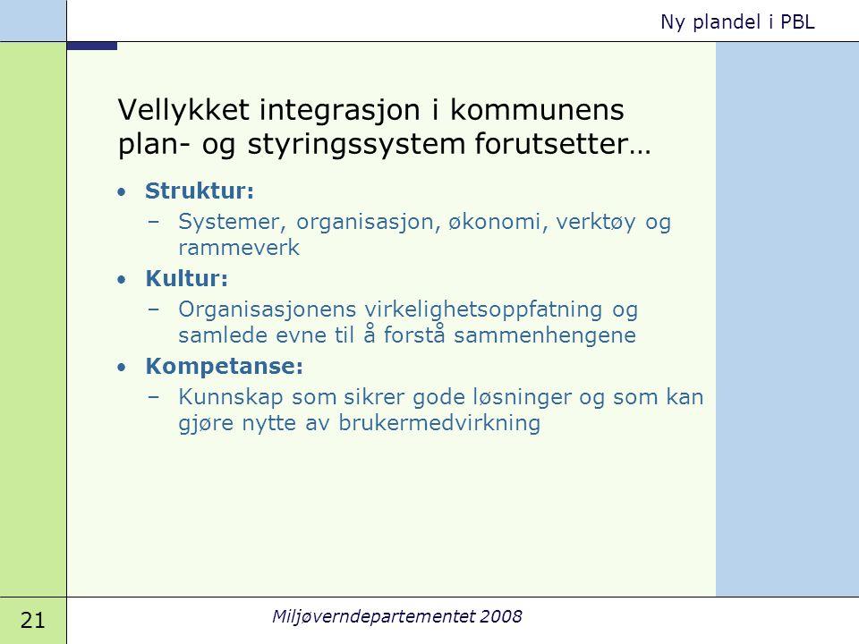 Vellykket integrasjon i kommunens plan- og styringssystem forutsetter…