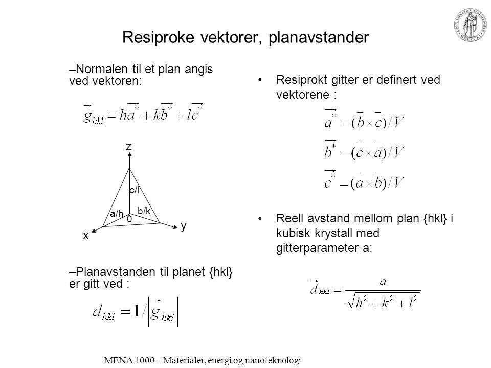 Resiproke vektorer, planavstander