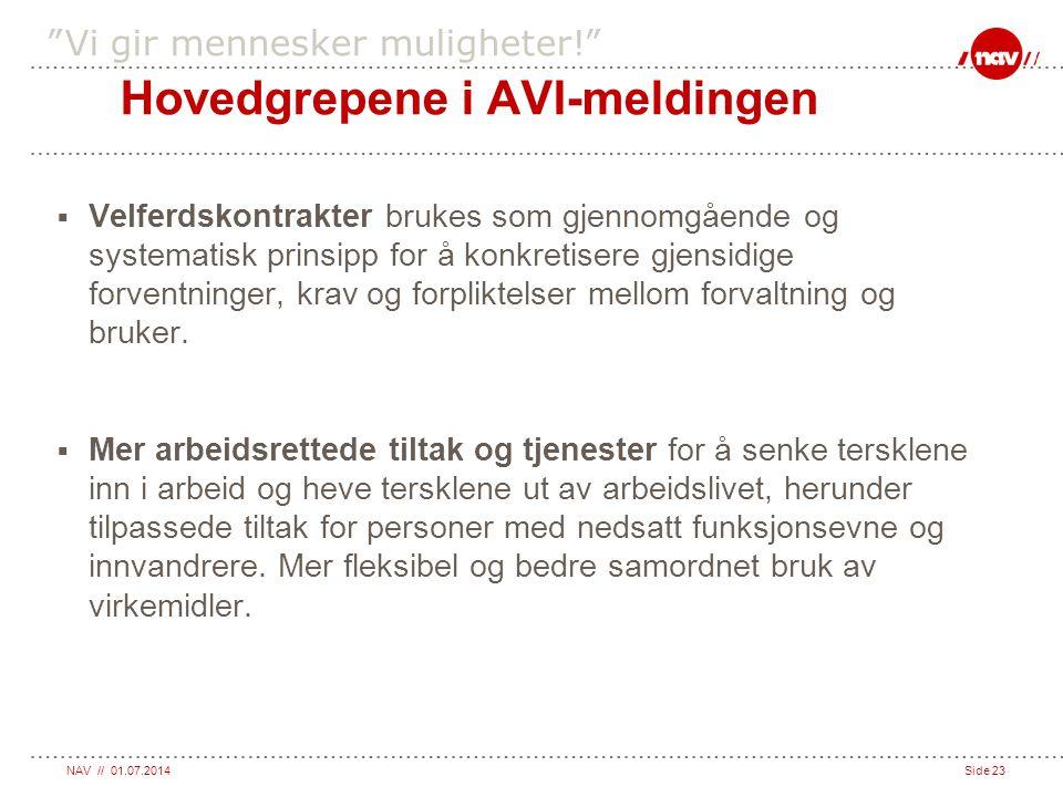 Hovedgrepene i AVI-meldingen