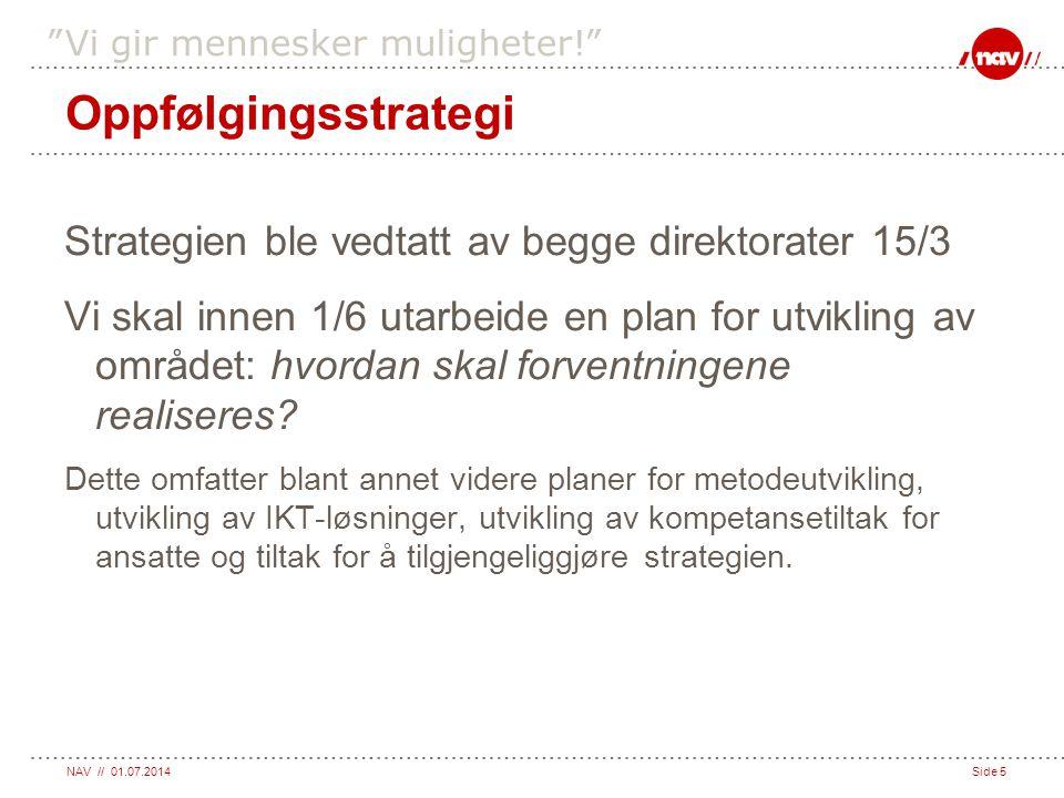 Oppfølgingsstrategi Strategien ble vedtatt av begge direktorater 15/3