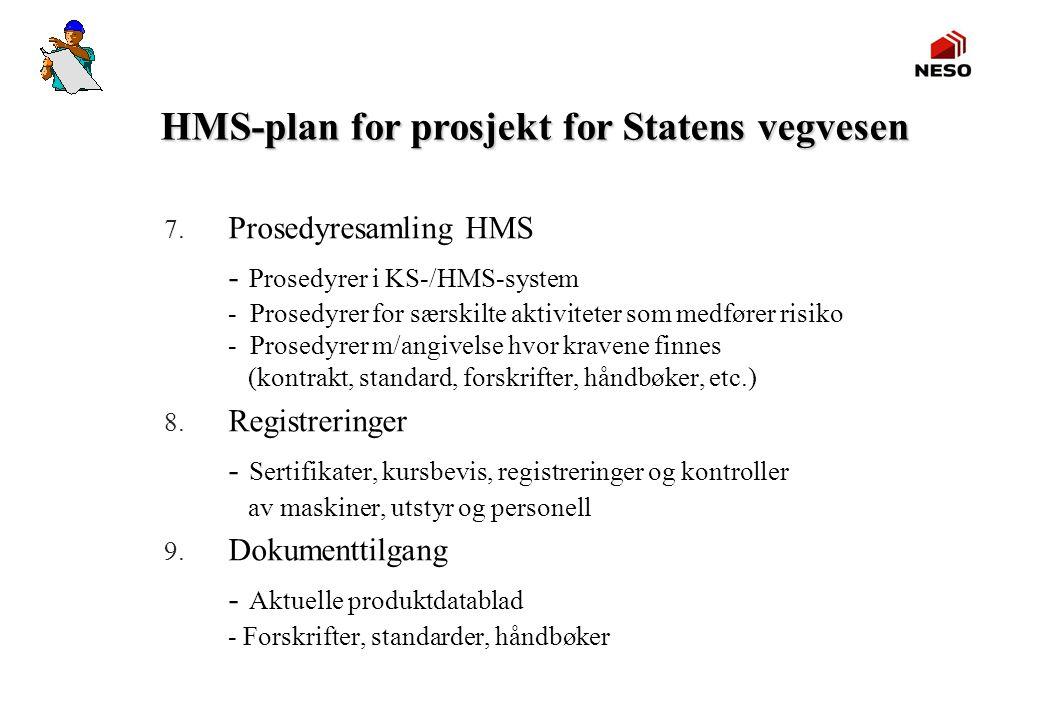 HMS-plan for prosjekt for Statens vegvesen