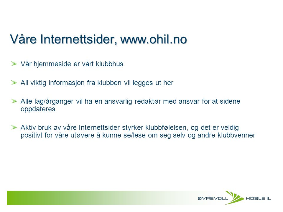 Våre Internettsider, www.ohil.no