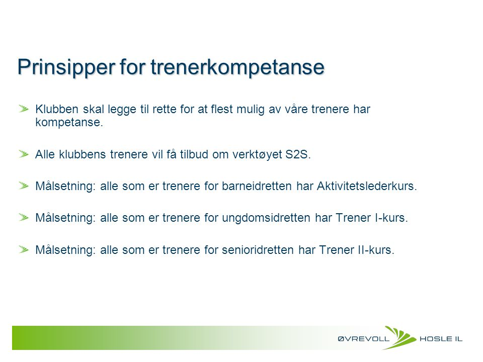 Prinsipper for trenerkompetanse
