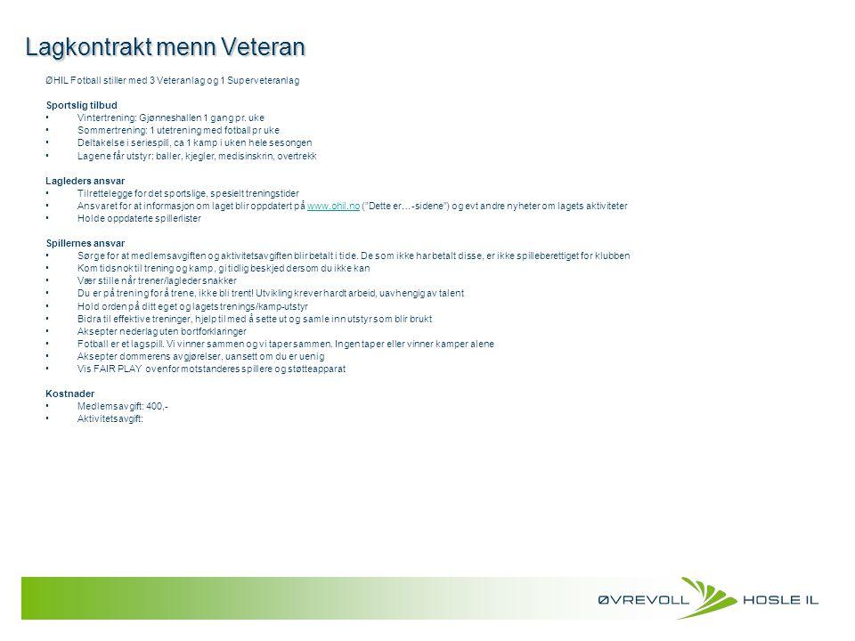 Lagkontrakt menn Veteran