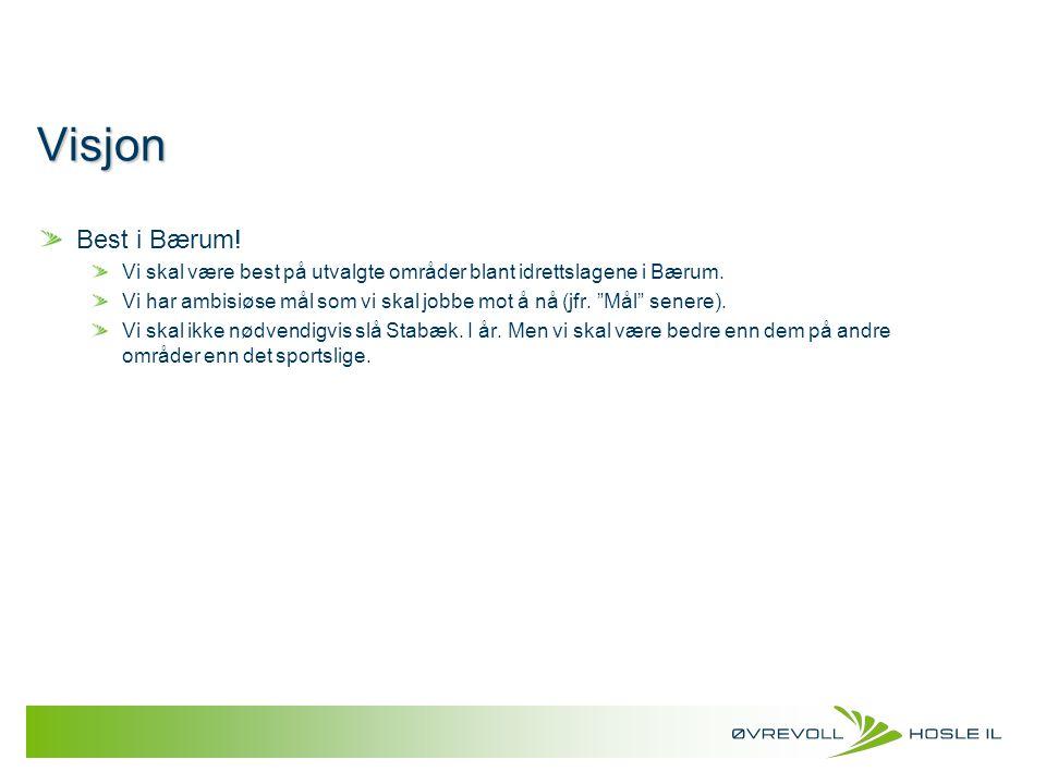 Visjon Best i Bærum! Vi skal være best på utvalgte områder blant idrettslagene i Bærum.