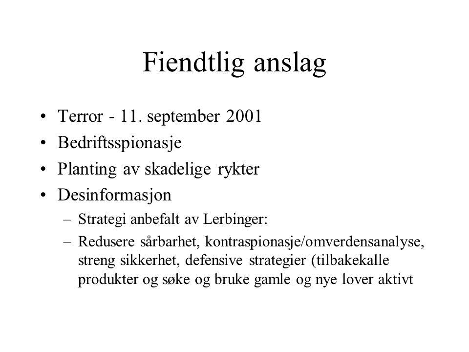 Fiendtlig anslag Terror - 11. september 2001 Bedriftsspionasje