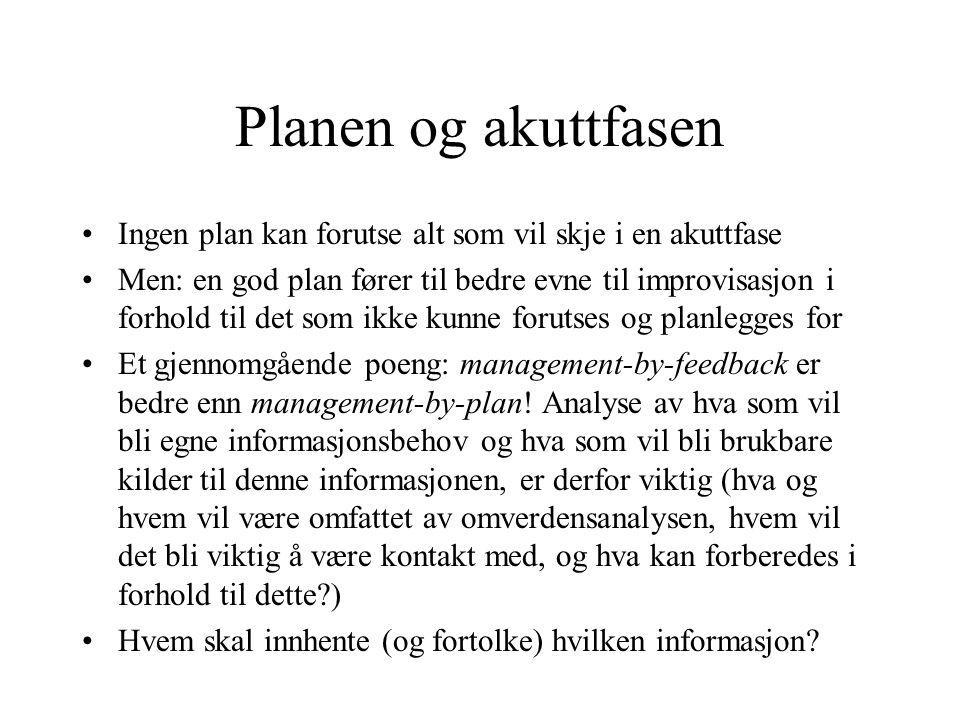 Planen og akuttfasen Ingen plan kan forutse alt som vil skje i en akuttfase.