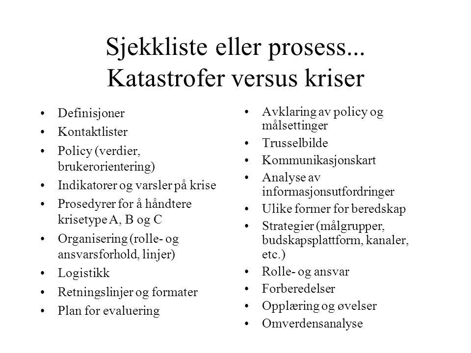 Sjekkliste eller prosess... Katastrofer versus kriser
