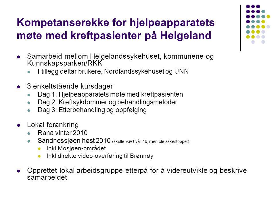 Kompetanserekke for hjelpeapparatets møte med kreftpasienter på Helgeland