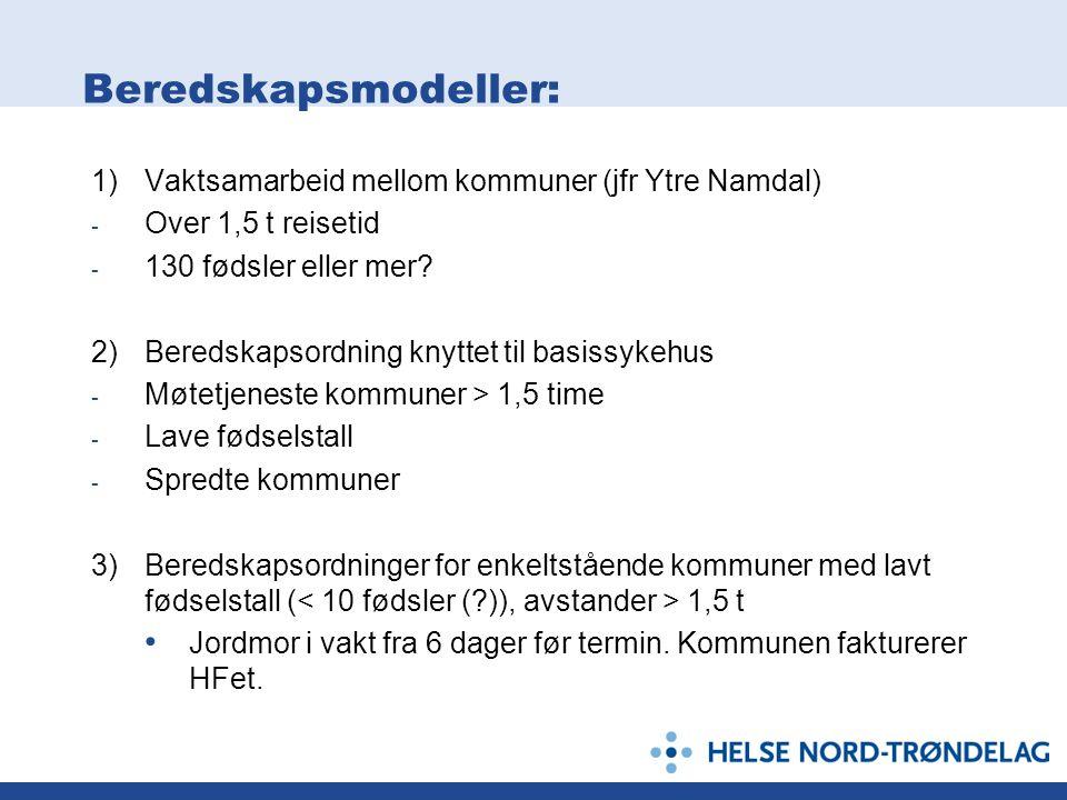 Beredskapsmodeller: 1) Vaktsamarbeid mellom kommuner (jfr Ytre Namdal)