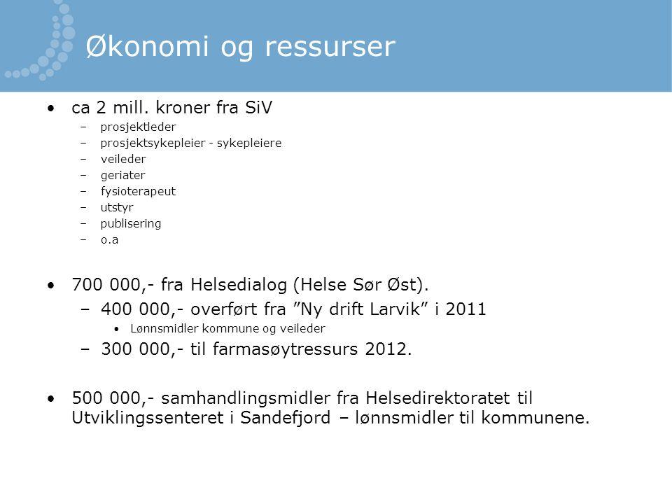 Økonomi og ressurser ca 2 mill. kroner fra SiV