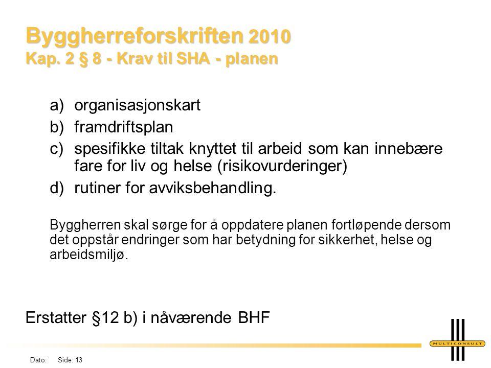 Byggherreforskriften 2010 Kap. 2 § 8 - Krav til SHA - planen