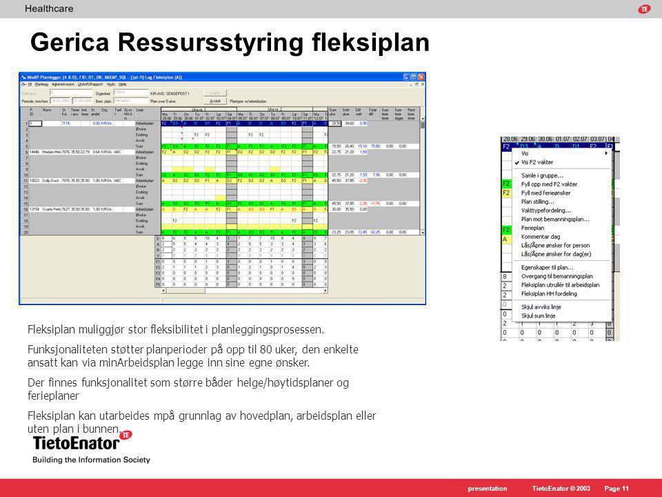 Gerica Ressursstyring fleksiplan