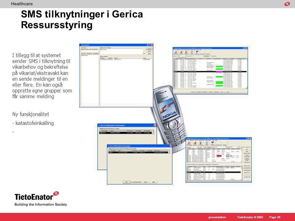 SMS tilknytninger i Gerica Ressursstyring