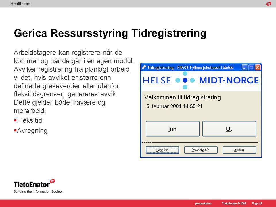 Gerica Ressursstyring Tidregistrering