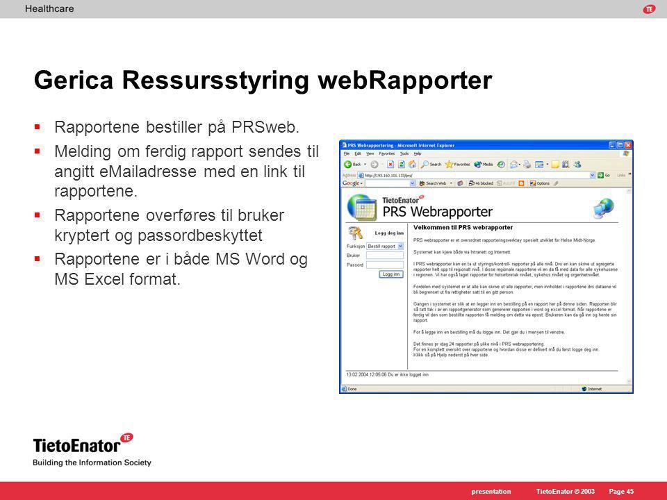 Gerica Ressursstyring webRapporter