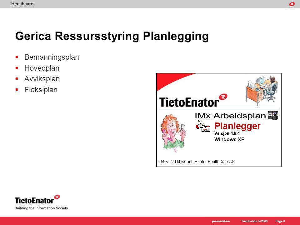 Gerica Ressursstyring Planlegging