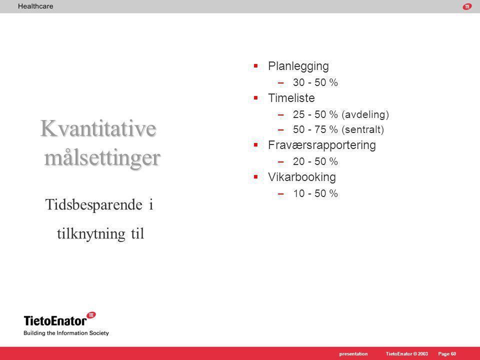 Kvantitative målsettinger Tidsbesparende i tilknytning til Planlegging