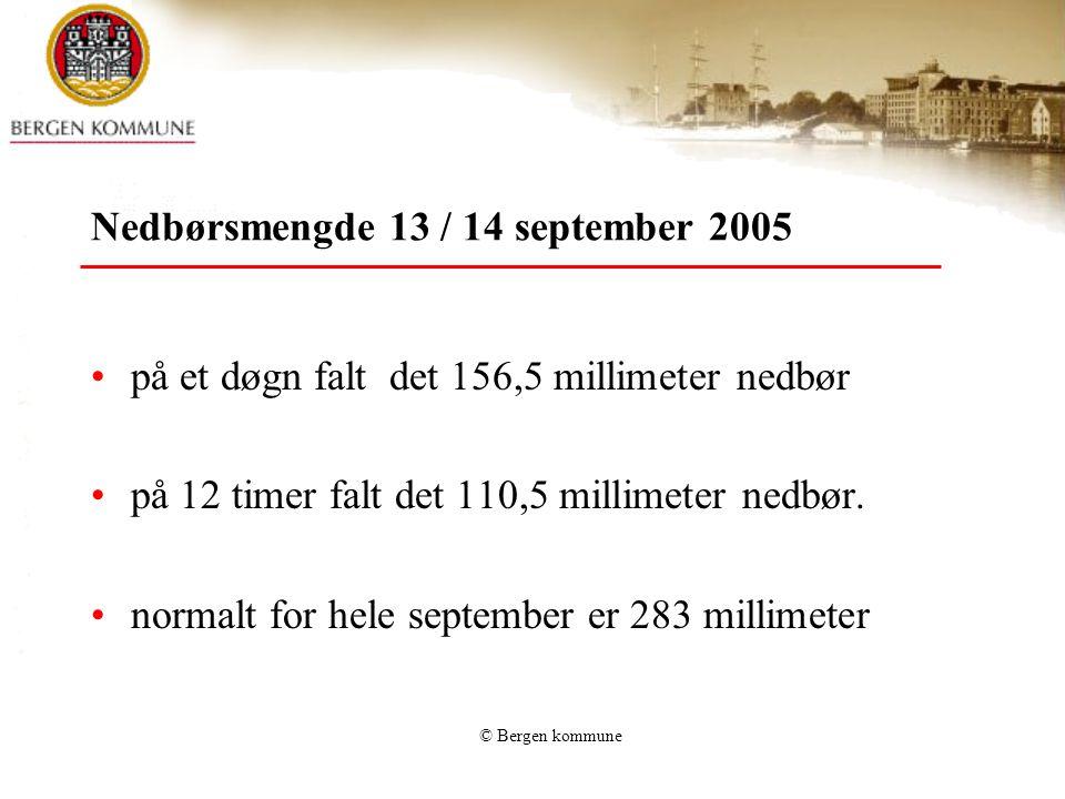 Nedbørsmengde 13 / 14 september 2005