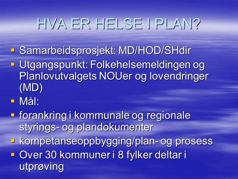 HVA ER HELSE I PLAN Samarbeidsprosjekt: MD/HOD/SHdir