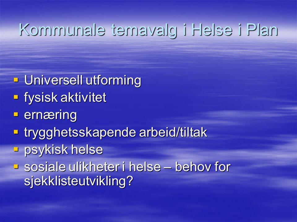 Kommunale temavalg i Helse i Plan