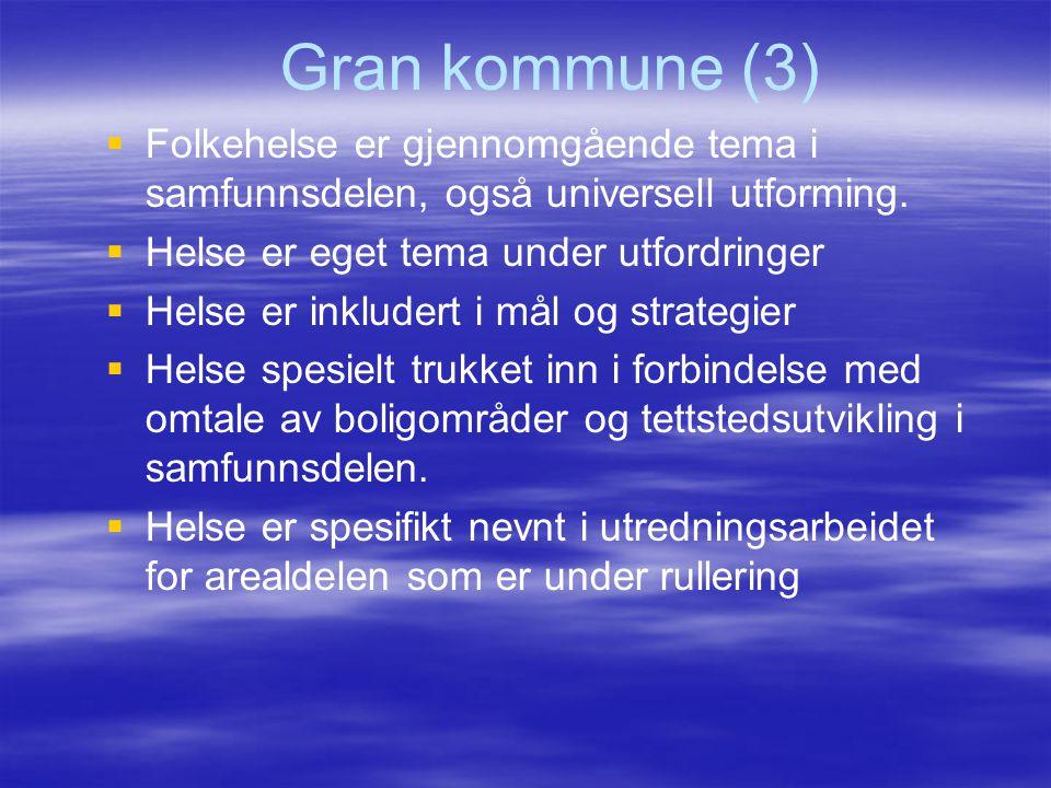 Gran kommune (3) Folkehelse er gjennomgående tema i samfunnsdelen, også universell utforming. Helse er eget tema under utfordringer.