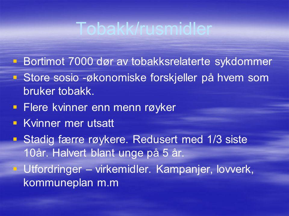 Tobakk/rusmidler Bortimot 7000 dør av tobakksrelaterte sykdommer