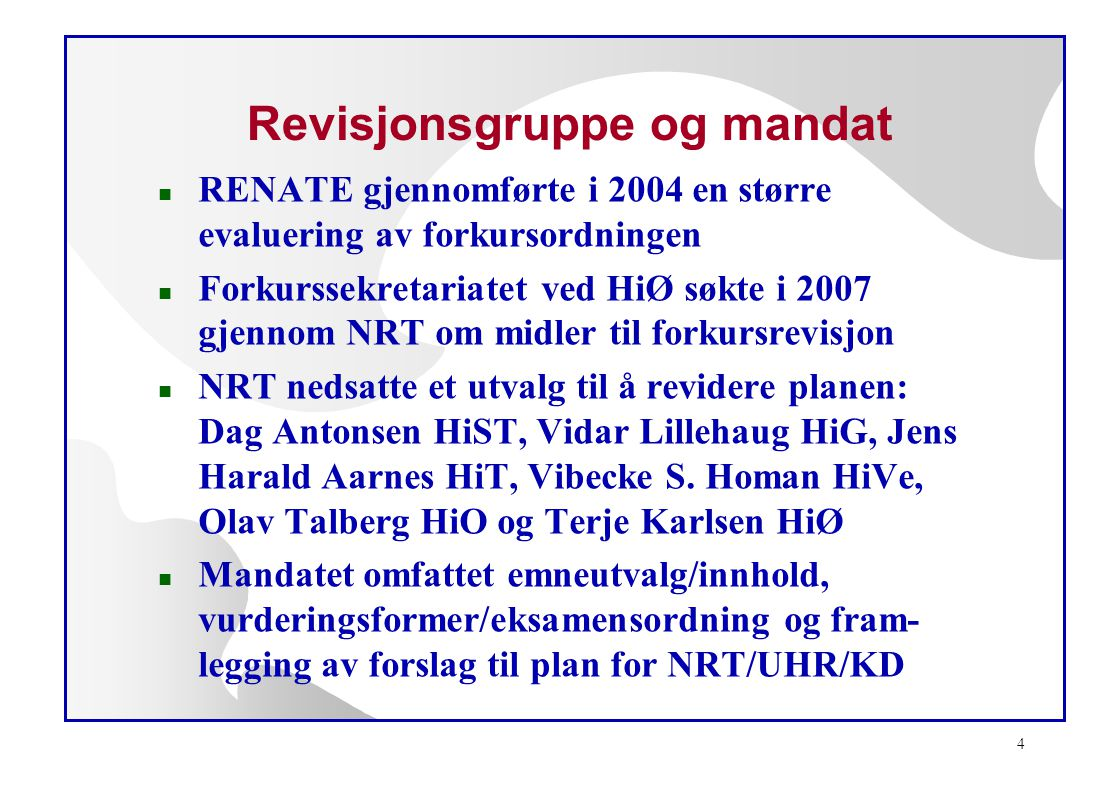 Revisjonsgruppe og mandat