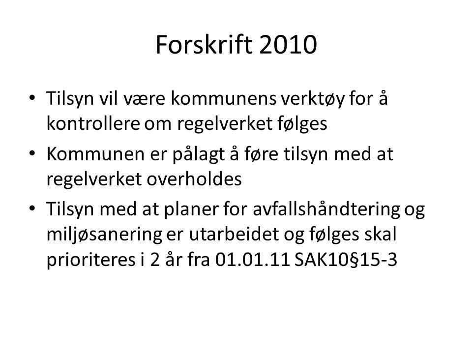 Forskrift 2010 Tilsyn vil være kommunens verktøy for å kontrollere om regelverket følges.