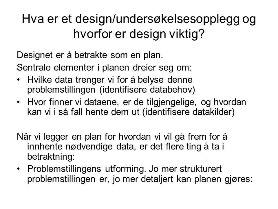 Hva er et design/undersøkelsesopplegg og hvorfor er design viktig