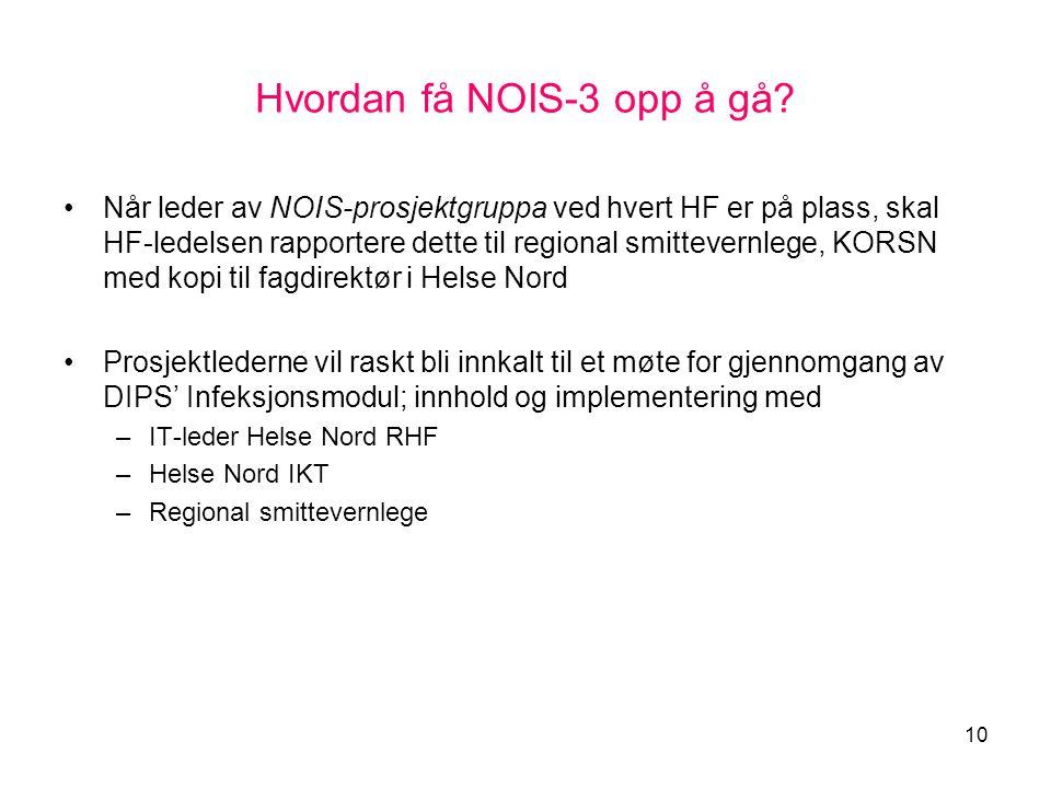 Hvordan få NOIS-3 opp å gå