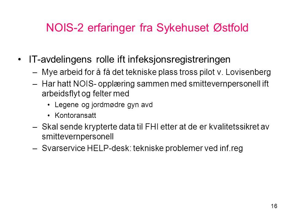NOIS-2 erfaringer fra Sykehuset Østfold