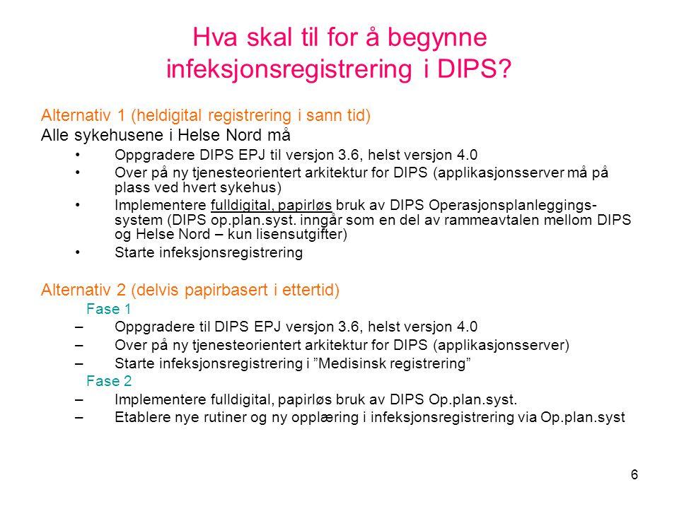 Hva skal til for å begynne infeksjonsregistrering i DIPS