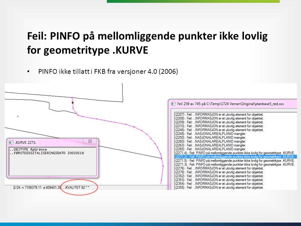Feil: PINFO på mellomliggende punkter ikke lovlig for geometritype
