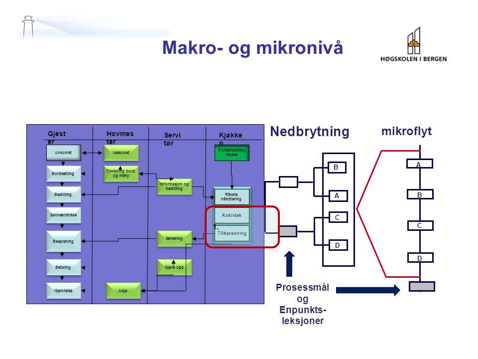 Makro- og mikronivå Nedbrytning mikroflyt Prosessmål og