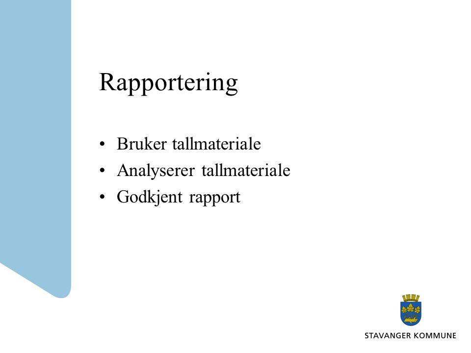 Rapportering Bruker tallmateriale Analyserer tallmateriale