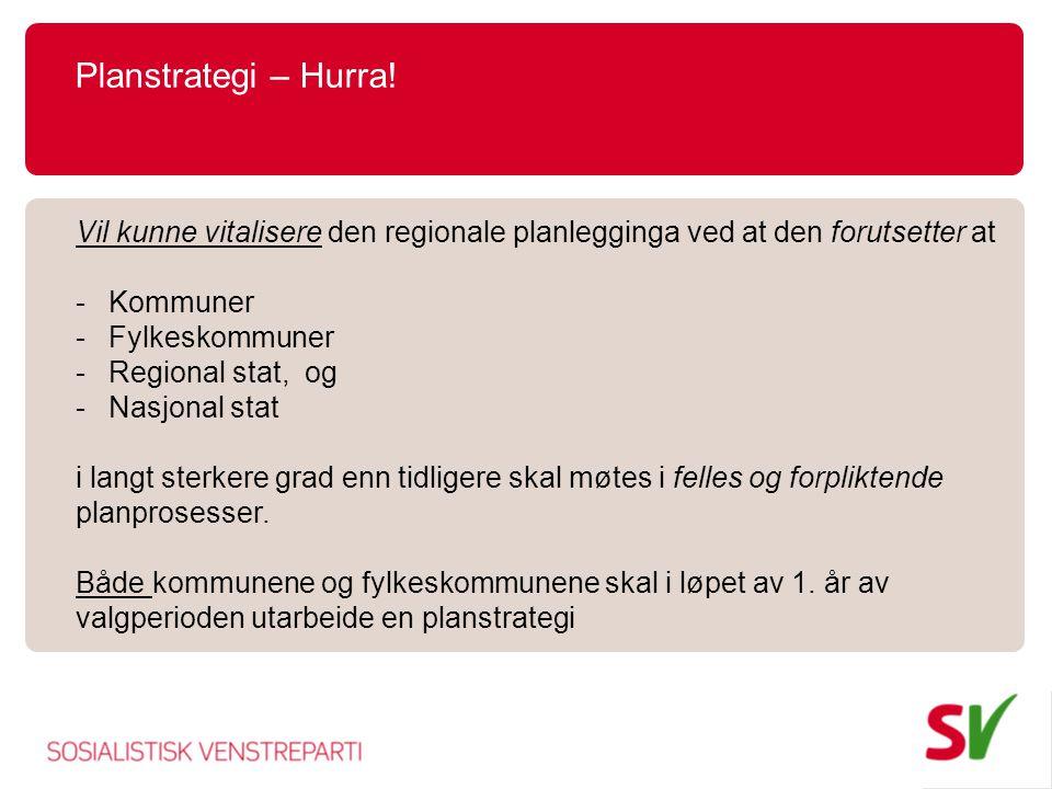 Planstrategi – Hurra! Vil kunne vitalisere den regionale planlegginga ved at den forutsetter at. Kommuner.