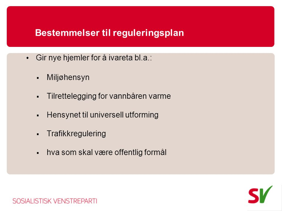 Bestemmelser til reguleringsplan