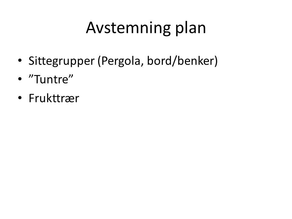 Avstemning plan Sittegrupper (Pergola, bord/benker) Tuntre Frukttrær