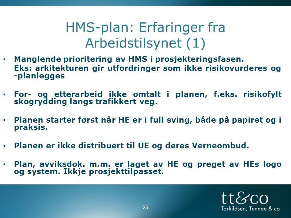 HMS-plan: Erfaringer fra Arbeidstilsynet (1)