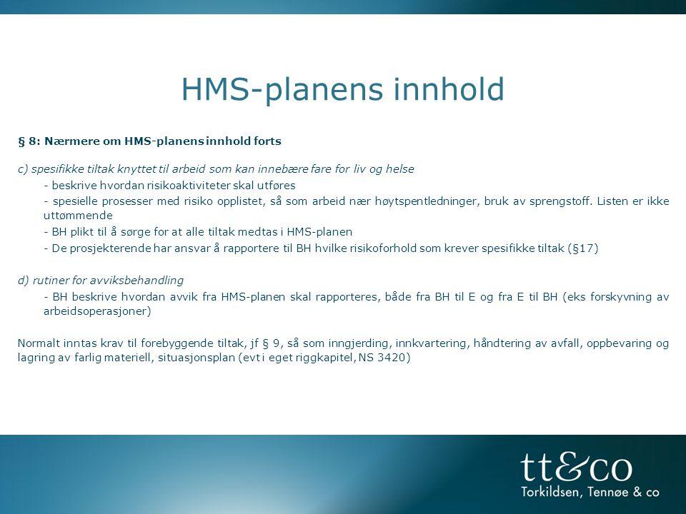 HMS-planens innhold