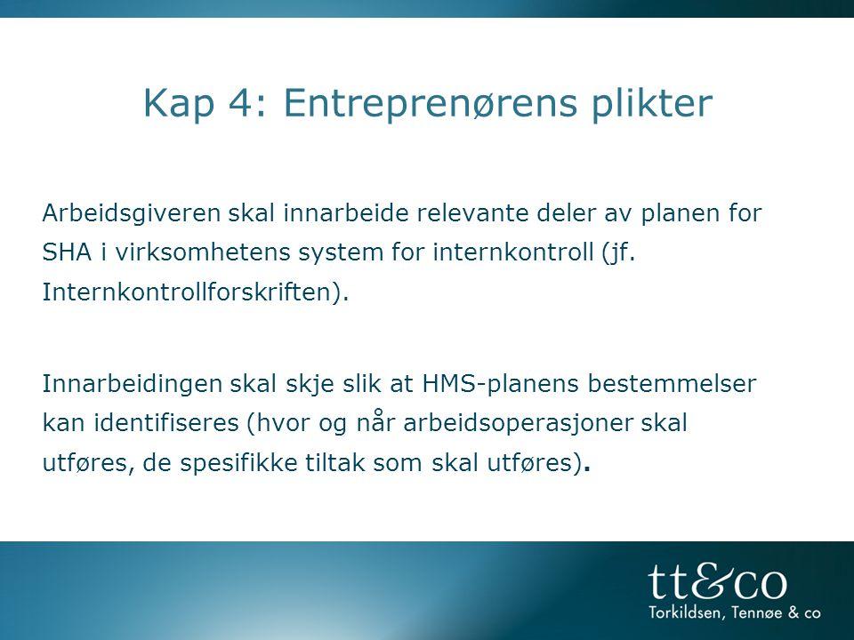 Kap 4: Entreprenørens plikter