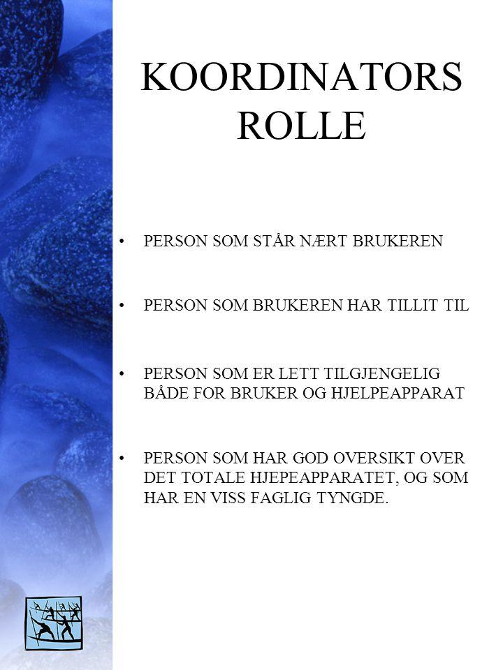 KOORDINATORS ROLLE PERSON SOM STÅR NÆRT BRUKEREN