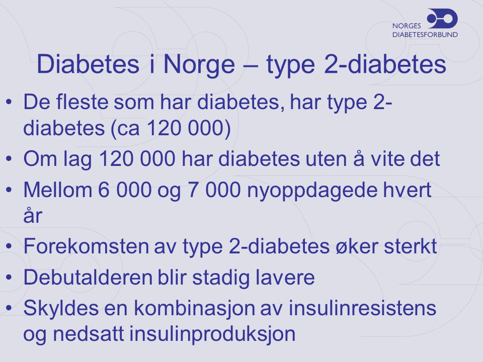 Diabetes i Norge – type 2-diabetes